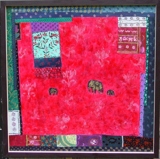Arrangement with Indian Fabric and Elephants